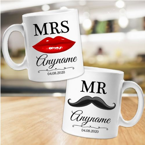 2  Personalised Mr & Mrs Moustache & Lips Mugs N53 Wedding Favours Keepsake Gift